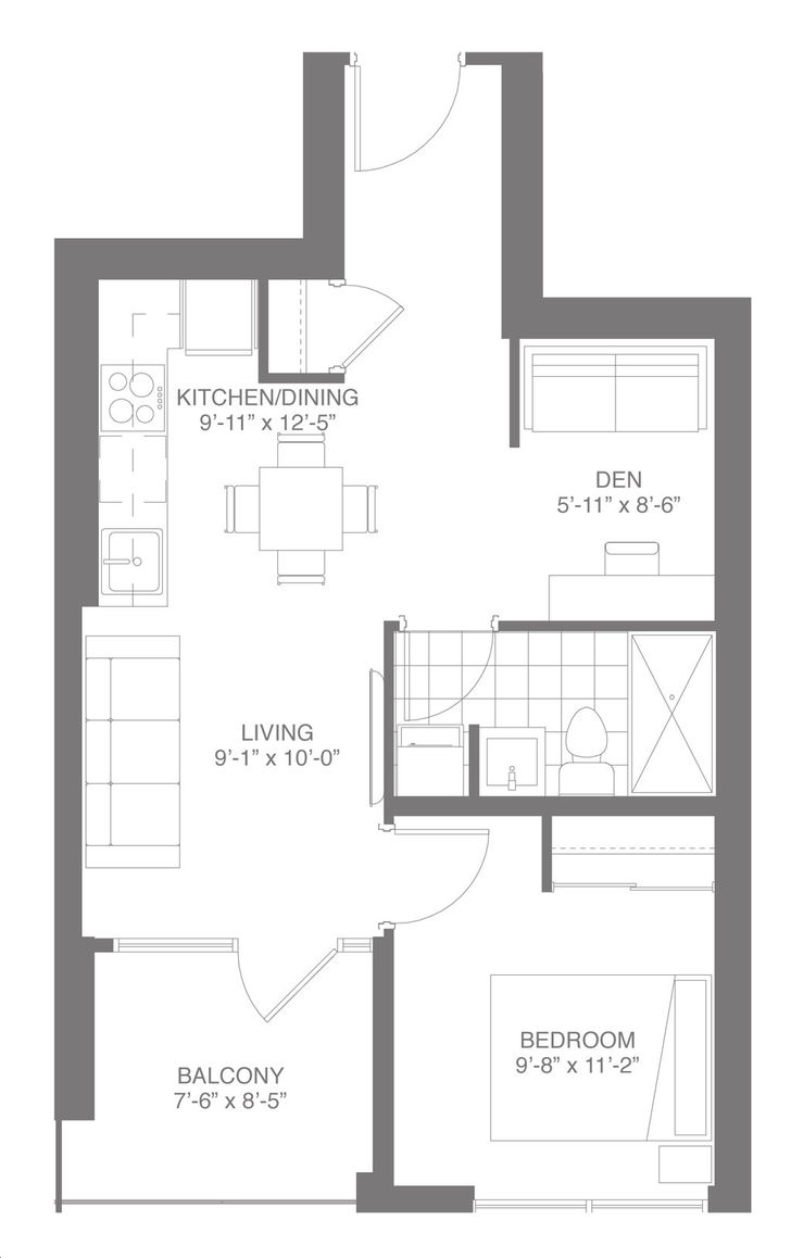 Dtk Condos By In8 Developments Suite 1h Floorplan 1 Bed 1 Bath