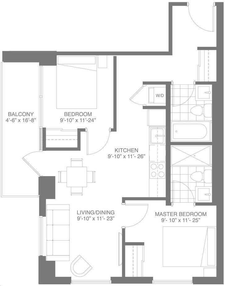 Dtk Condos By In8 Developments Suite 2a Floorplan 2 Bed 2 Bath