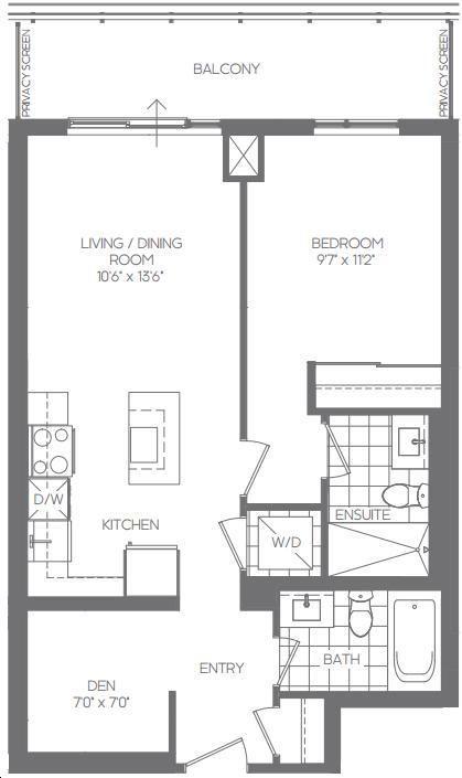 Daniels erin mills by daniels middlebury floorplan 1 bed for Floor plans middlebury