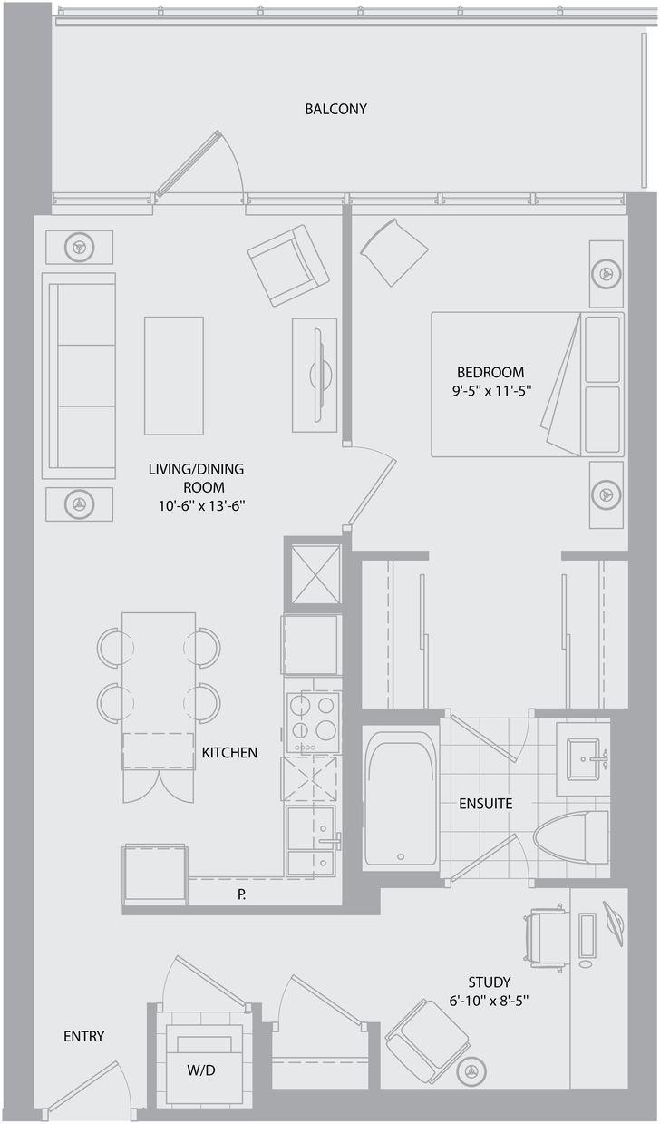 Daniels Festival Tower By Daniels Hayworth Floorplan 1 Bed 1 Bath