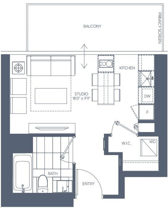 Daniels Waterfront Condos The Lighthouse Tower By Daniels Studio Floorplan 0 Bed 1 Bath