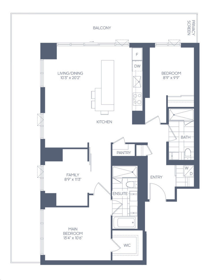 Daniels Waterfront Condos The Lighthouse Tower By Daniels The Armstrong Floorplan 2 Bed 2 Bath