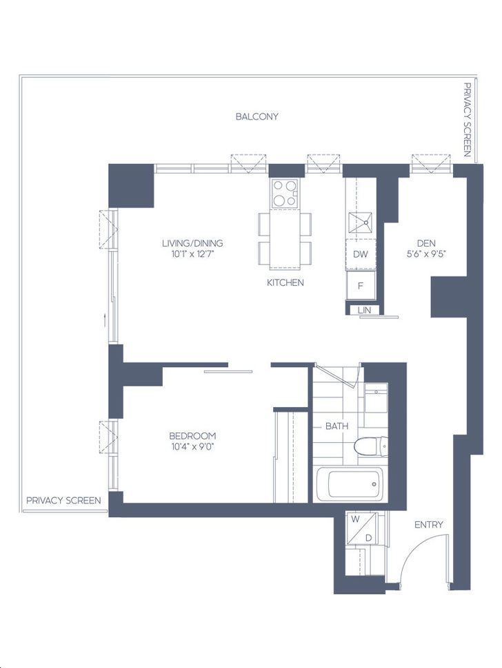 Daniels Waterfront Condos The Lighthouse Tower By Daniels The Gagnon Floorplan 1 Bed 1 Bath