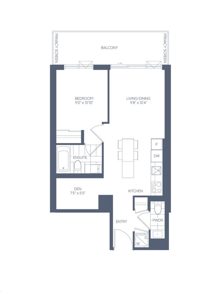 Daniels Waterfront Condos The Lighthouse Tower By Daniels The Ogden Floorplan 1 Bed 1 Bath