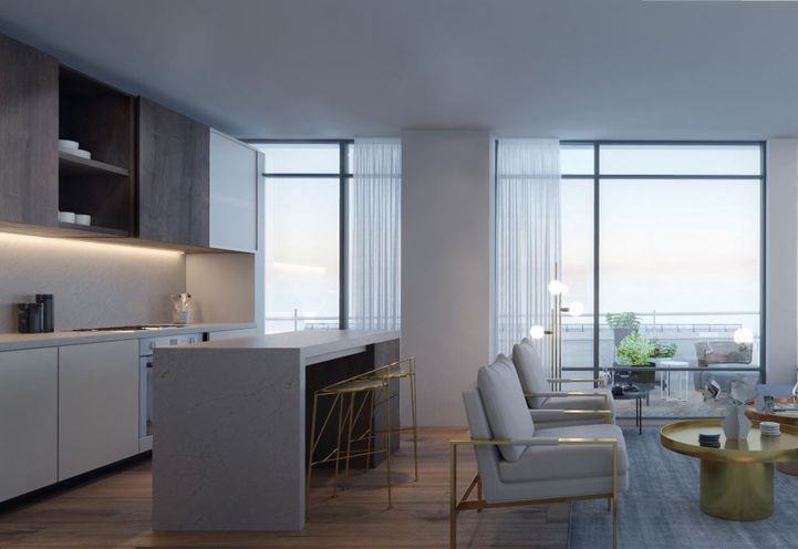 Kitchen and Living Room Area at Distrikt Trailside Condos 2