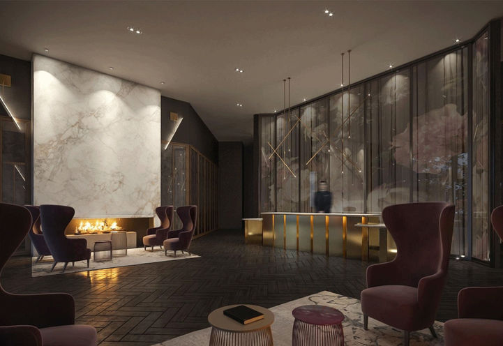 Lobby with Concierge at Distrikt Trailside Condos
