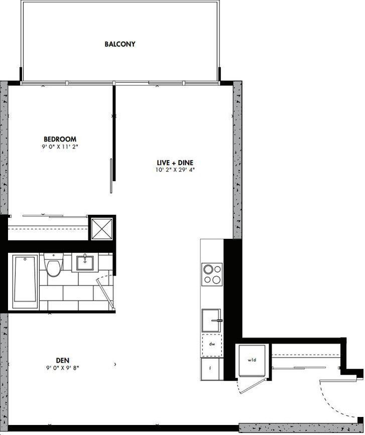 East 55 Condos By Lamb Fukuoka Floorplan 1 Bed 1 Bath