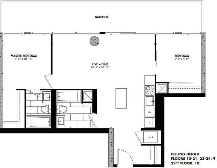 East 55 Condos By Lamb Manila Floorplan 2 Bed 2 Bath