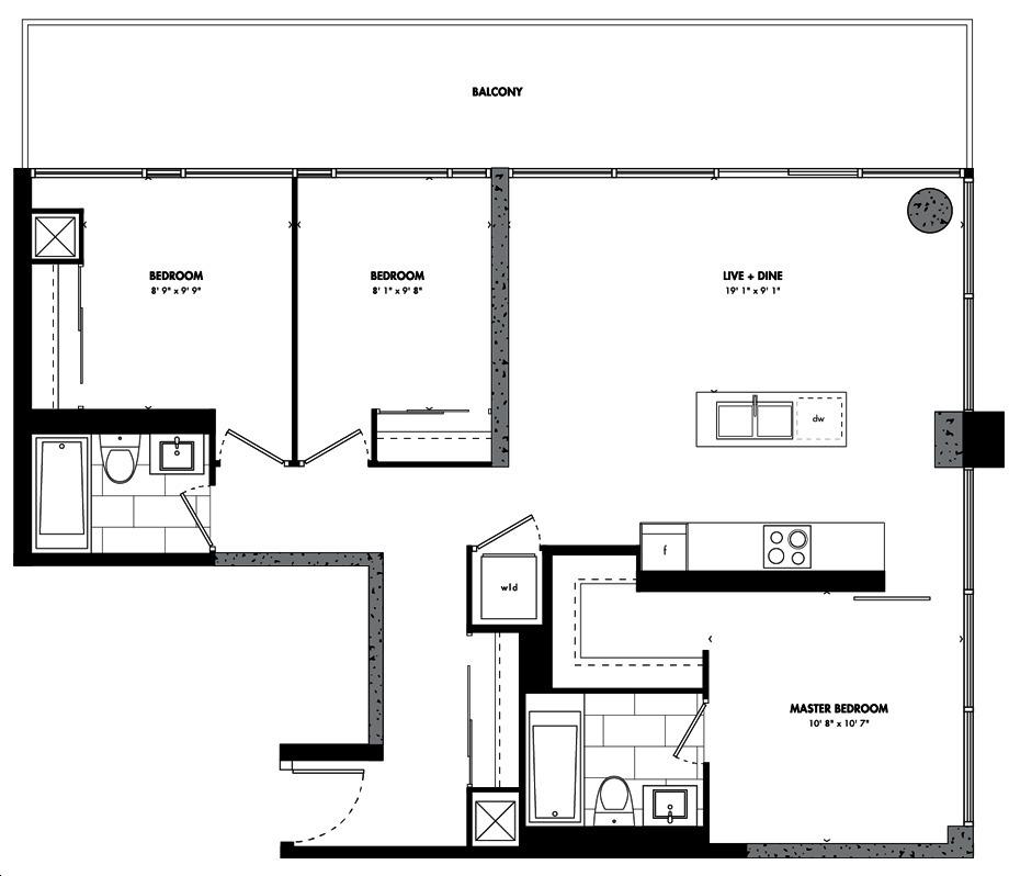 East 55 Condos By Lamb Nagoya Floorplan 3 Bed 2 Bath