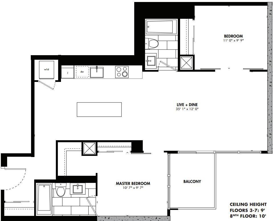 East 55 Condos By Lamb Sendai Floorplan 2 Bed 2 Bath