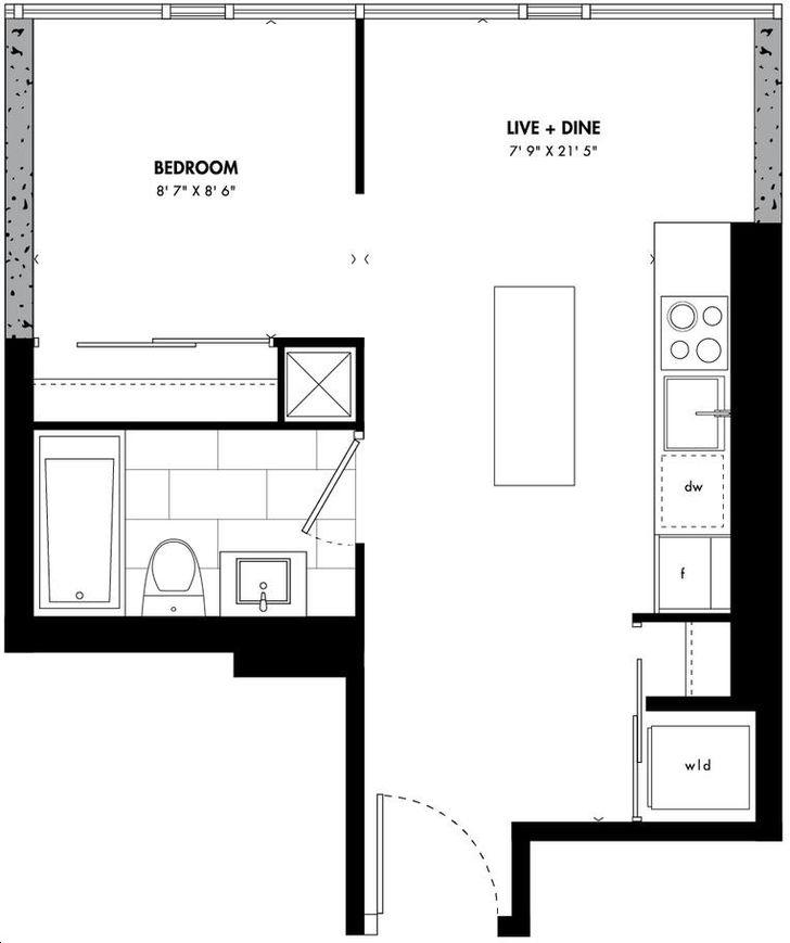 East 55 Condos By Lamb Seoul Floorplan 1 Bed 1 Bath