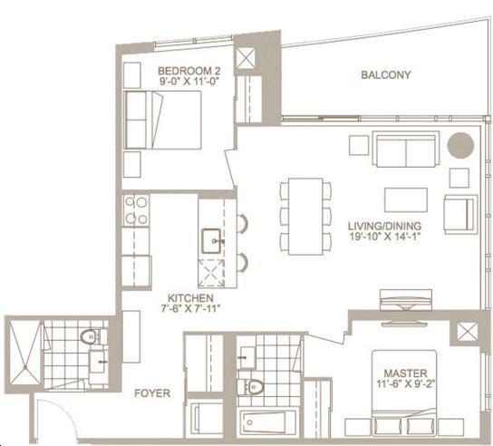 Fairview Mall Floor Plan: Opal Floorplan 2 Bed & 2 Bath