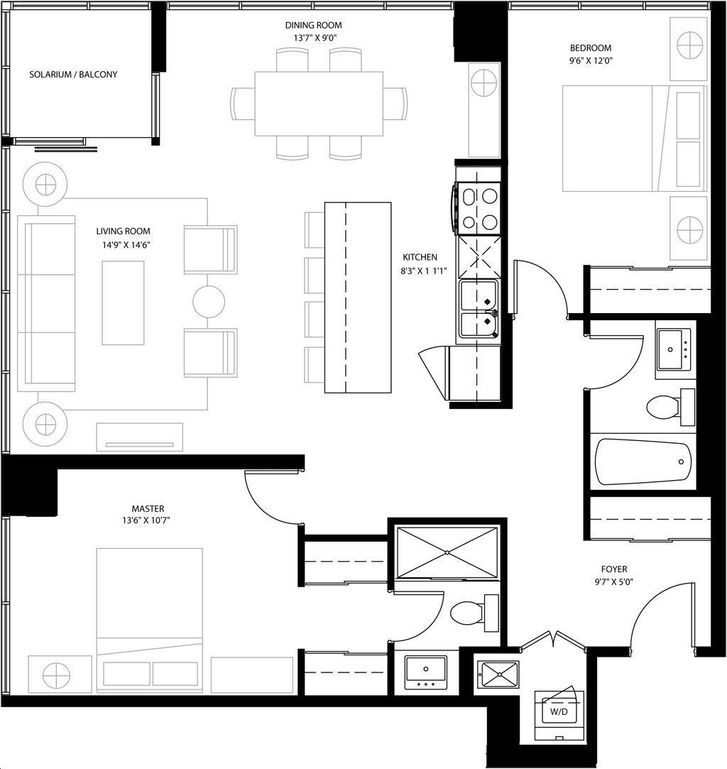 Expo Condos By Cortel A1 Floorplan 2 Bed Amp 2 Bath