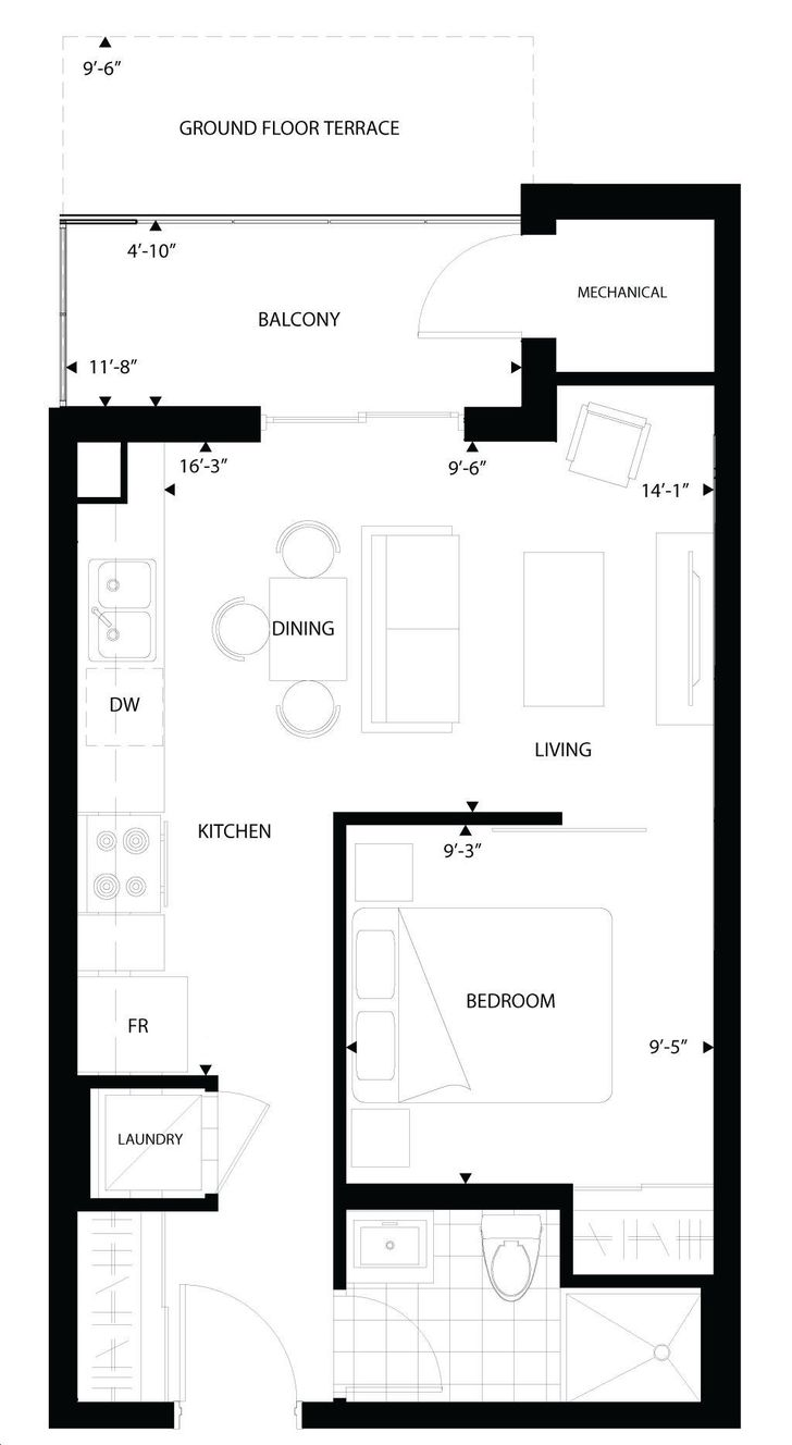 Imagine Condos By Insoho The Cinema Floorplan 1 Bed Amp 1 Bath