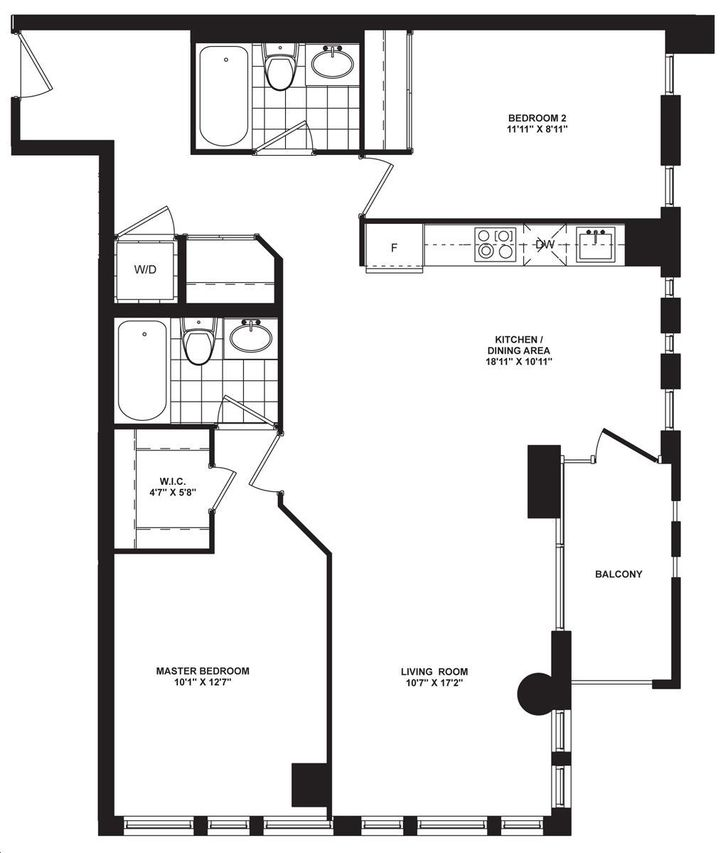 Ivory On Adelaide By Plaza Suite 2 B Floorplan 2 Bed 2 Bath