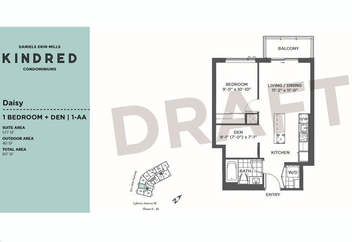 Kindred Condos Rose Model - 1 Bed 2 Bath plus Den