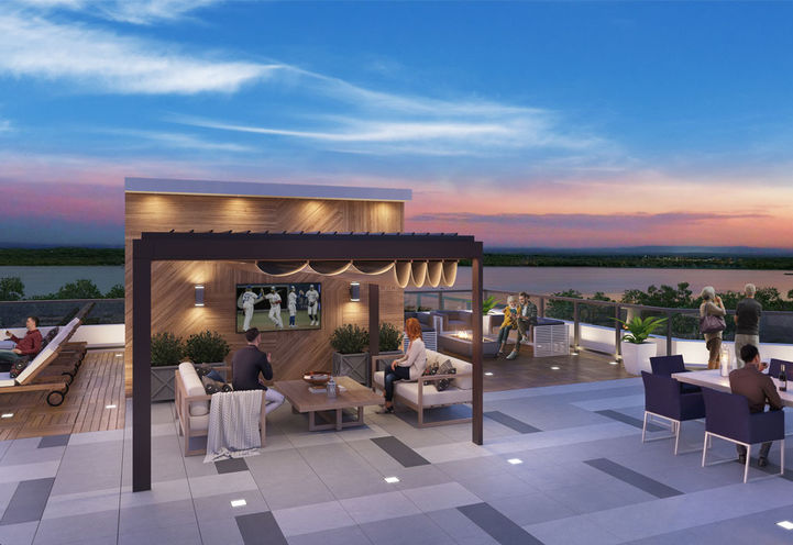LakeVu Condos 2 Rooftop Terrace with Seating and View of Lake