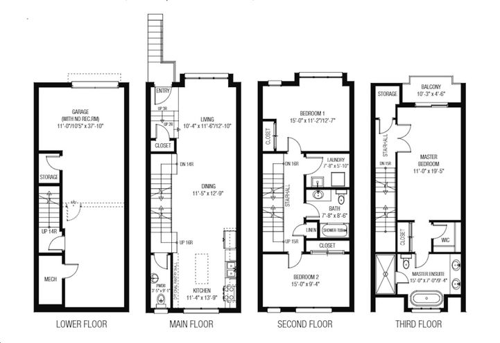 Sample Floor Plan of  Townhouse Unit 01 at Lakeview Towns
