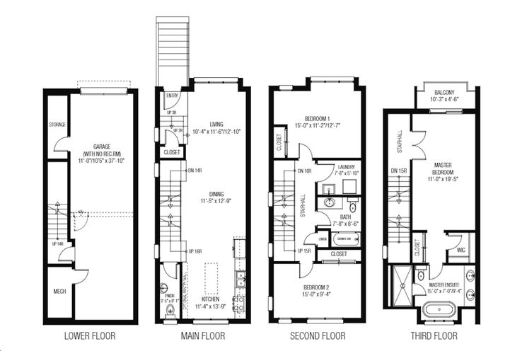 Sample Floor Plan of  Townhouse Unit 02  at Lakeview Towns