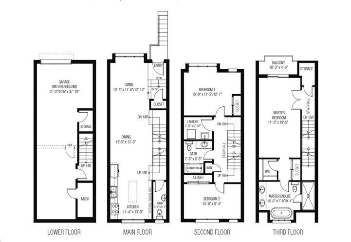 Sample Floor Plan of  Townhouse Unit 03 at Lakeview Towns