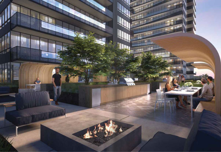 Outdoor Firepit Lounge at Line 5 Condos