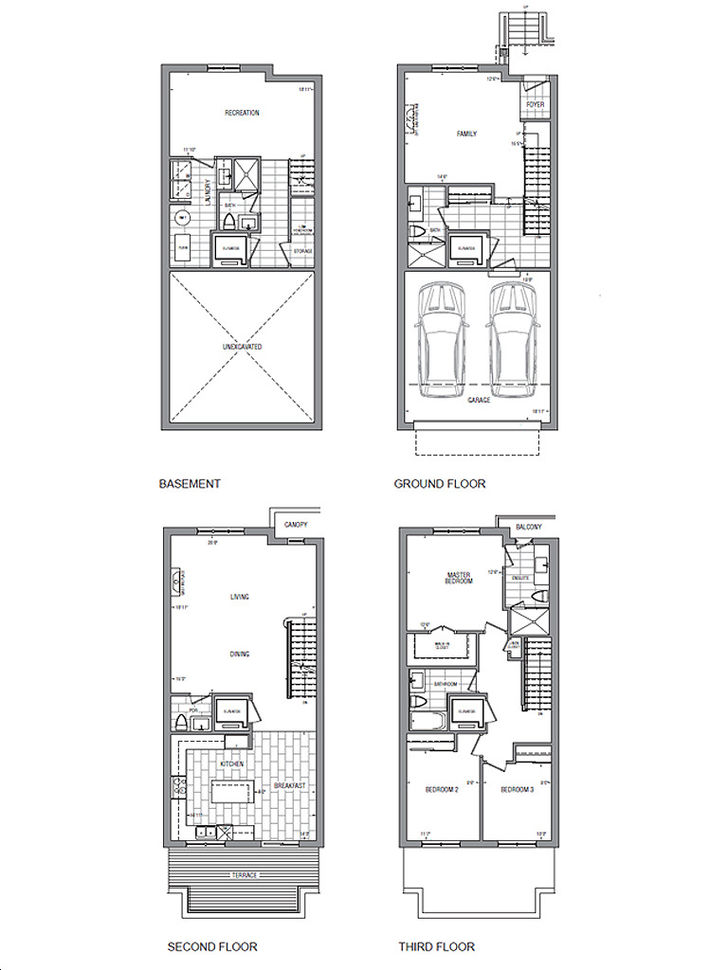 Luxe Towns On Valleymede By Times Group Corporation C 1 W Elevator Floorplan 3 Bed 4 5 Bath