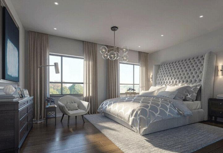 Bedroom Interiors Showcasing Large Bed, Windows, Dresser, TV