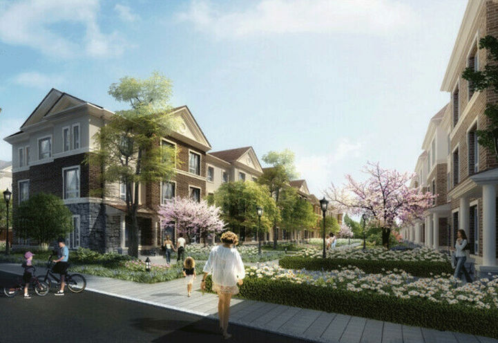 Residents Enjoying Outdoor Space on Foot and Bicycles at Markham GOLD
