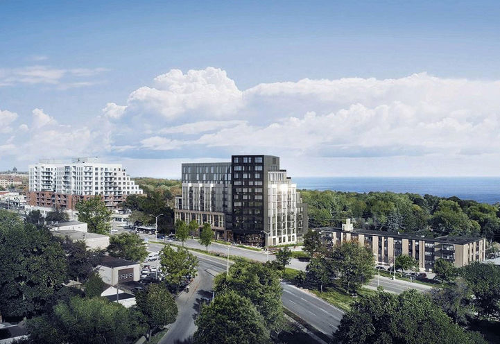 Aerial View Of Merge Condos at 2201 Kingston Road, Toronto, ON