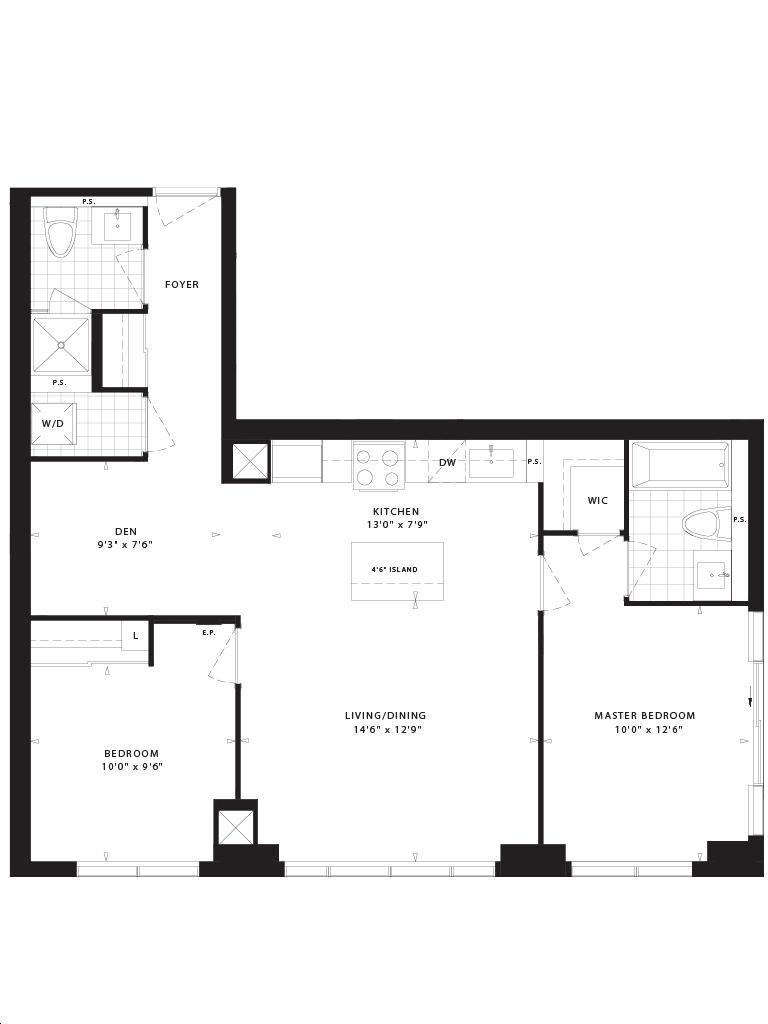 Mills Square By Pemberton Caldwell Floorplan 2 Bed 2 Bath