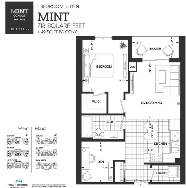 Mint condos by new horizon mint floorplan 1 bed 1 bath for Condominium floor plan