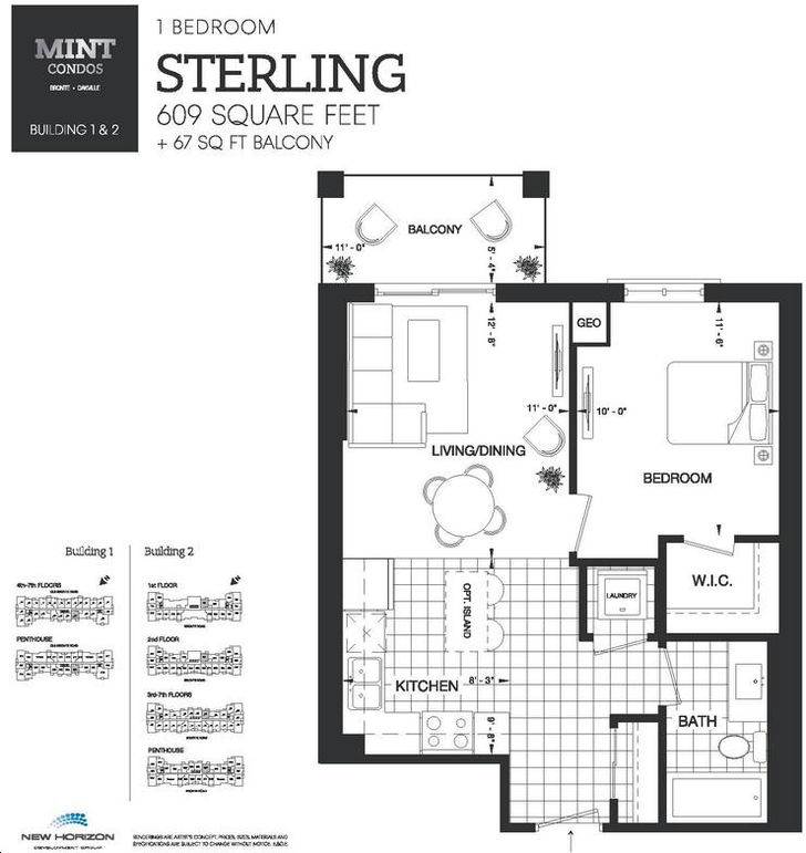 Mint Condos By New Horizon Sterling Floorplan 1 Bed Amp 1 Bath