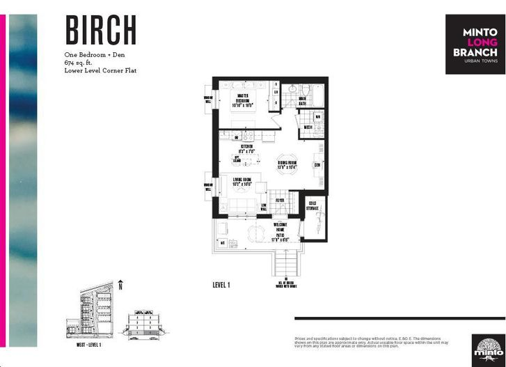 Minto longbranch by minto birch floorplan 1 bed 1 bath for Stacked townhouse floor plans