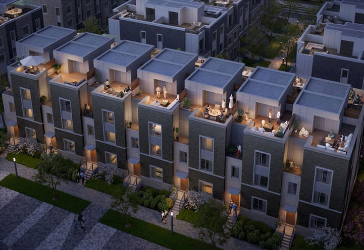Evening Aerial View of Mobilio Towns Villa 3 Storey Towns