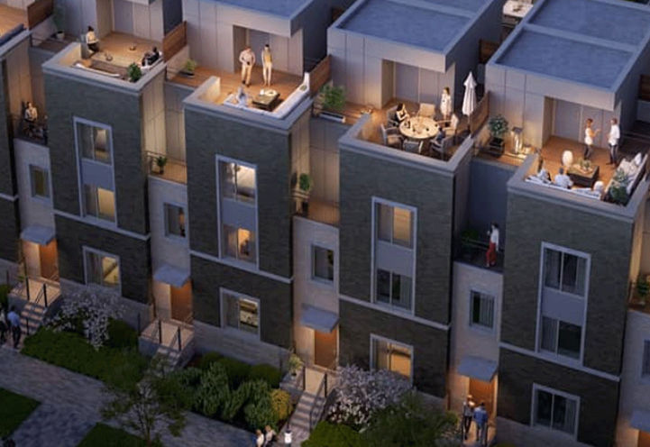 Evening Bird's Eye View of Private Rooftop Terraces at Mobilio Towns