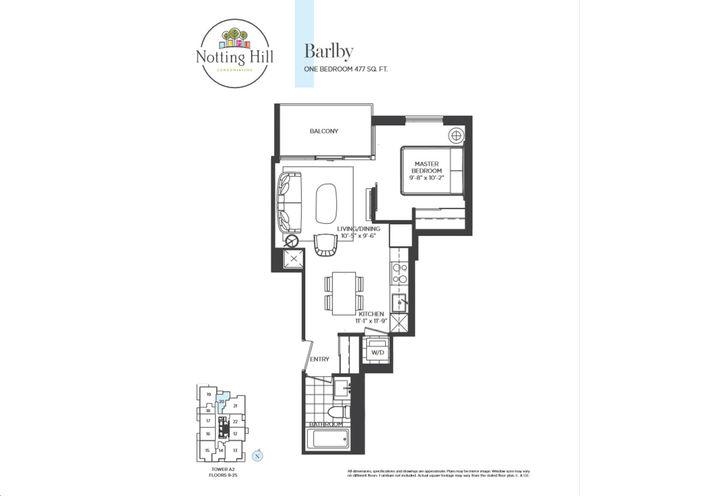 One Bedroom  Floor Plan Sample by Lanterra Developments