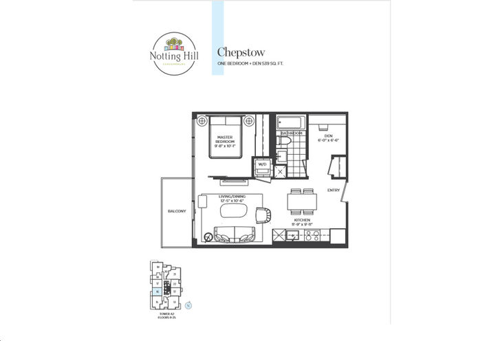 One Bedroom Plus Den  Floor Plan Sample by Lanterra Developments