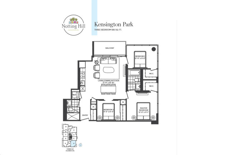 Three Bedroom Floor Plan   Sample by Lanterra Developments