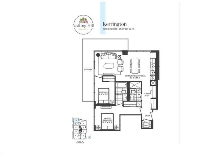 Two Bedroom plus Study  Floor Plan Sample by Lanterra Developments
