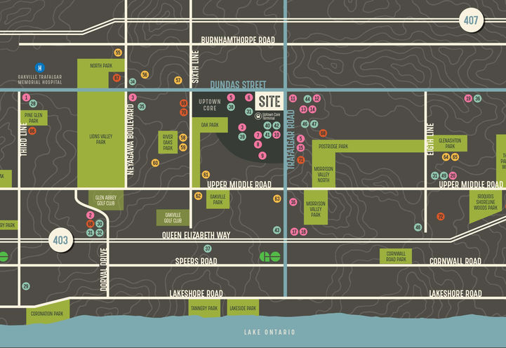 Oakville Condo Oak & Co Location Map
