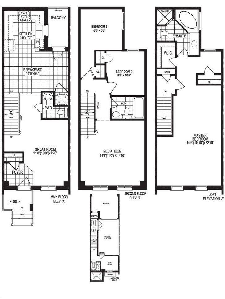 Oakdale Village Towns By Conservatory Palmer Floorplan 3 Bed 3 Bath