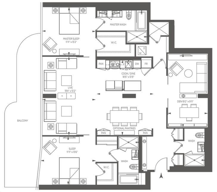 1 Bloor Floor Plans