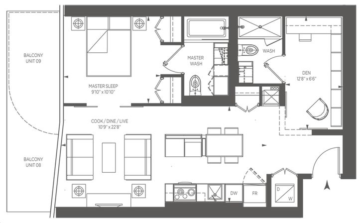 One Bloor Condo By Great Gulf Comfort Floorplan 1 Bed Amp 2