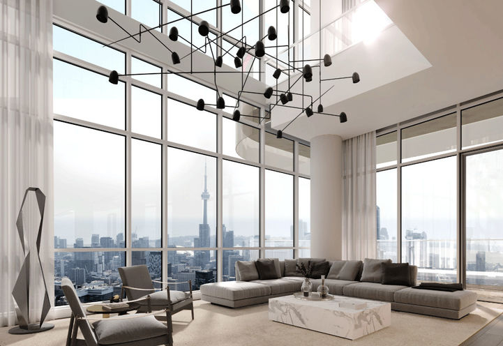 Penthouse Living Room at One Bloor Condo