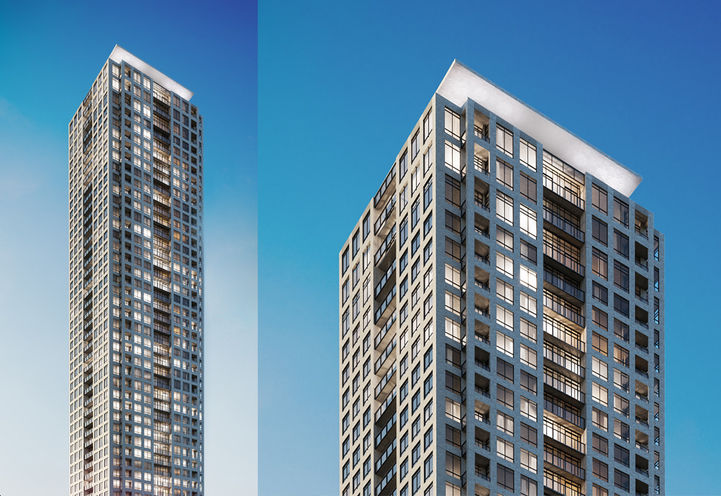 Profile Shots of Podium and Tower of ORO Edge by Solmar Development