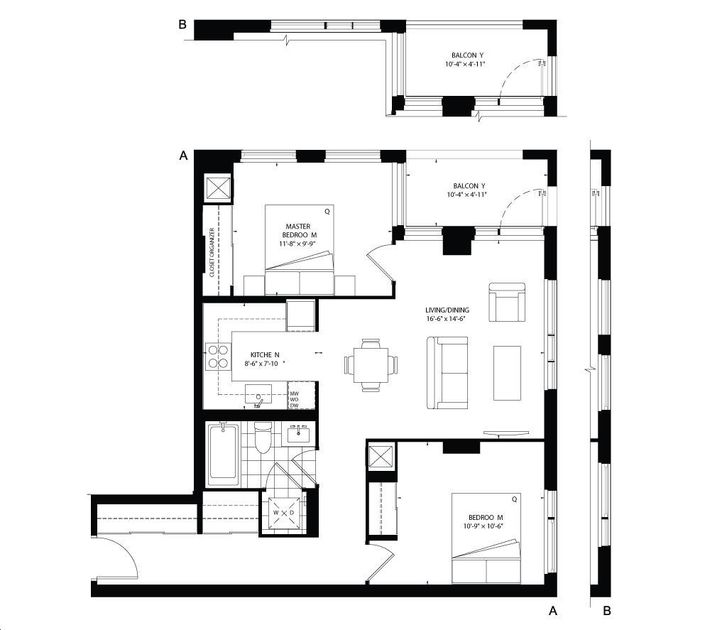 Picasso On Richmond By Monarch 852 Floorplan 2 Bed Amp 1 Bath