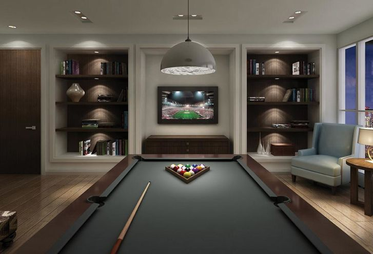 Billiards Room at Rise Condo