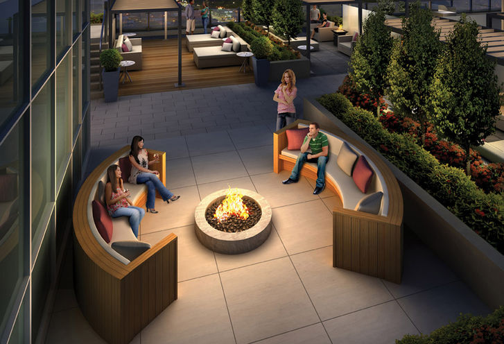 Firepit on The Podium Roof Terrace at Rise Condos