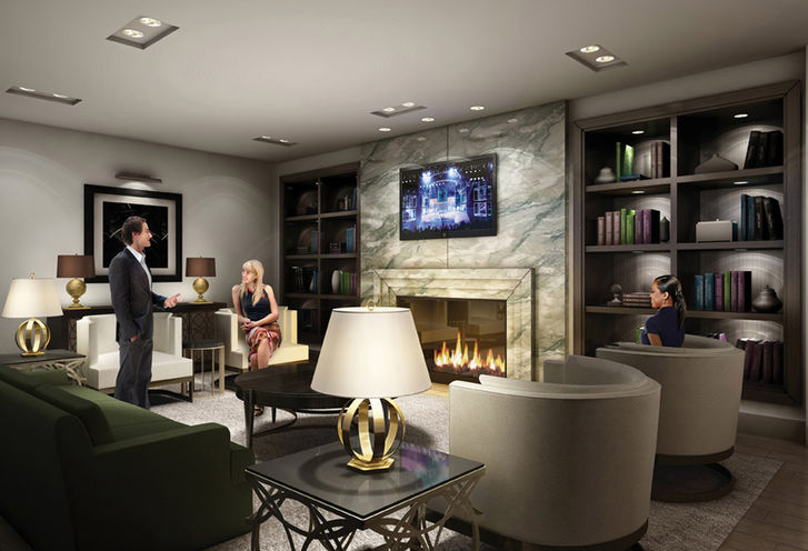 Fireplace in The Lounge at Rise Condominiums