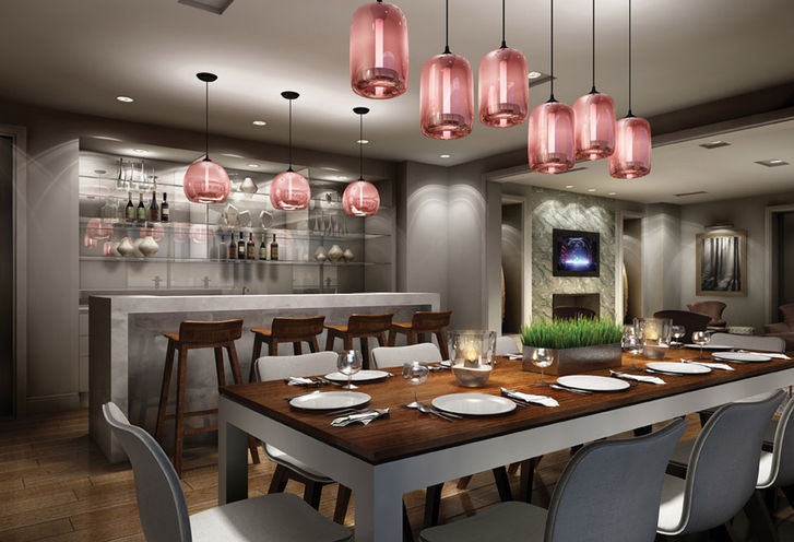 Party Room Dining and Bar at Rise Condominiums by Reserve Properties